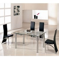 Alicia Glass Extending Dining Table In Clear With 6 G501