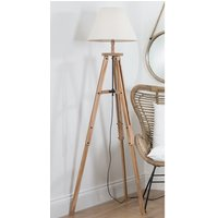 Product photograph showing Jerkins Wooden Tripod Floor Lamp In Brown With Beige Linen Shade