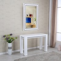 Diamante Console Table With Mirror In White High Gloss