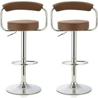 Product photograph showing Jerome Modern Bar Stool In Cappuccino Faux Leather In A Pair