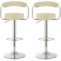 Product photograph showing Jerome Modern Bar Stool In Cream Faux Leather In A Pair