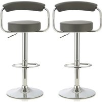 Product photograph showing Jerome Modern Bar Stool In Grey Faux Leather In A Pair