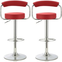 Product photograph showing Jerome Modern Bar Stool In Red Faux Leather In A Pair