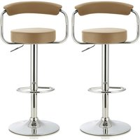 Product photograph showing Jerome Modern Bar Stool In Taupe Faux Leather In A Pair