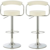 Product photograph showing Jerome Modern Bar Stool In White Faux Leather In A Pair