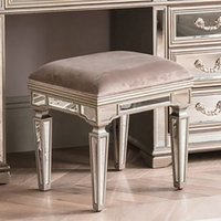 Product photograph showing Jessica Wooden Mirrored Large Dressing Stool In Taupe