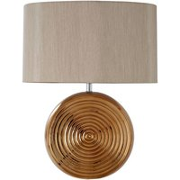 Product photograph showing Jessima Natural Fabric Shade Table Lamp With Bronze Base
