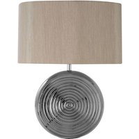 Product photograph showing Jessima Natural Fabric Shade Table Lamp With Chrome Base