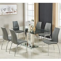 Jet Large Glass Dining Table In Clear And 6 Opal Grey Chairs