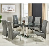 Jet Large Glass Dining Table In Clear And 6 Vesta Grey Chairs
