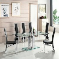 Jet Large Glass Dining Table In Clear And 6 Chicago Black Ch