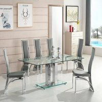 Jet Large Glass Dining Table In Clear With 6 Chicago Grey Ch