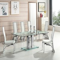 Jet Large Glass Dining Table In Clear And 6 Chicago White Ch