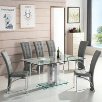 Jet Large Glass Dining Table In Clear With 6 Ravenna Grey Chairs
