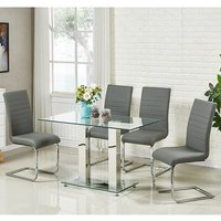 Jet Small Glass Dining Table In Clear And 4 Symphony Grey Chairs