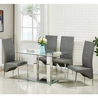 Jet Small Glass Dining Table In Clear With 4 Vesta Grey Chairs