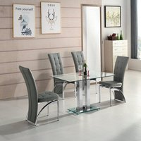 Jet Small Clear Glass Dining Table With 4 Ravenna Grey Chair