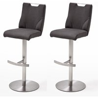 Jiulia Anthracite Bar Stool With Stainless Steel Base In Pair