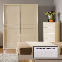 Product photograph showing Joanne Almond Gloss 2 Door Sliding Wardrobe