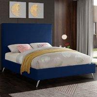 Jonesboro Plush Velvet Upholstered Single Bed In Blue