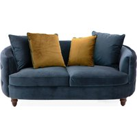 Product photograph showing Jools Velvet 2 Seater Sofa In Blue With Scatter Cushions