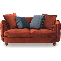 Product photograph showing Jools Velvet 2 Seater Sofa In Copper With Scatter Cushions