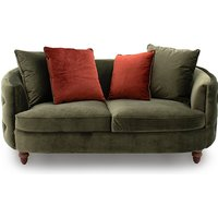 Product photograph showing Jools Velvet 2 Seater Sofa In Olive With Scatter Cushions