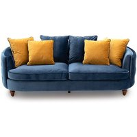 Product photograph showing Jools Velvet 3 Seater Sofa In Blue With Scatter Cushions