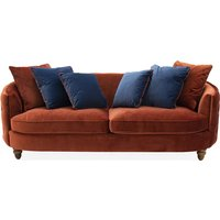 Product photograph showing Jools Velvet 3 Seater Sofa In Copper With Scatter Cushions