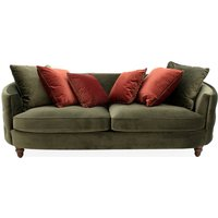 Product photograph showing Jools Velvet 3 Seater Sofa In Olive With Scatter Cushions