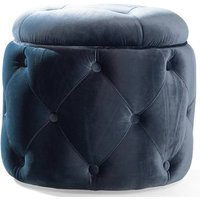 Product photograph showing Jools Velvet Foot Stool In Blue