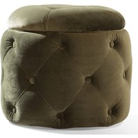 Product photograph showing Jools Velvet Foot Stool In Olive