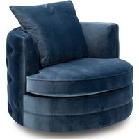 Product photograph showing Jools Velvet Swivel Chair In Blue