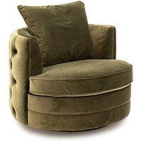 Product photograph showing Jools Velvet Swivel Chair In Olive