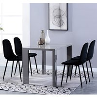 Product photograph showing Joule Dining Set In Grey Gloss With 4 Black Alpine Chairs