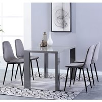 Product photograph showing Joule Dining Set In Grey Gloss With 4 Grey Alpine Chairs