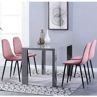 Product photograph showing Joule Dining Set In Grey Gloss With 4 Rose Alpine Chairs