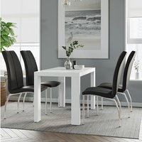 Product photograph showing Joule Dining Set In White Gloss With 4 Black Boston Chairs