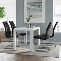 Product photograph showing Joule Dining Set In White Gloss With 4 Black New York Chairs