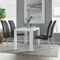 Product photograph showing Joule Dining Set In White Gloss With 4 Charcoal Boston Chairs