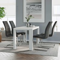 Product photograph showing Joule Dining Set In White Gloss With 4 Charcoal New York Chairs