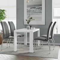 Product photograph showing Joule Dining Set In White Gloss With 4 Grey Boston Chairs