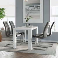 Product photograph showing Joule Dining Set In White Gloss With 4 Grey New York Chairs