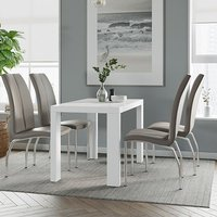 Product photograph showing Joule Dining Set In White Gloss With 4 Mink Boston Chairs