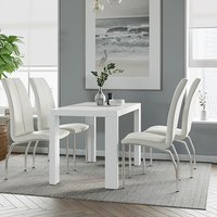 Product photograph showing Joule Dining Set In White Gloss With 4 White Boston Chairs