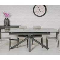 Product photograph showing Jupiter Extending Ceramic Dining Table In Grey