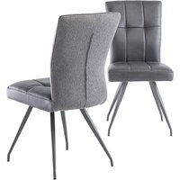 Product photograph showing Kabana Grey Faux Leather Dining Chairs In Pair