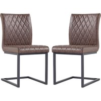 Product photograph showing Kalamazoo Brown Faux Leather Cantilever Dining Chairs In Pair