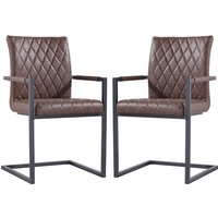 Product photograph showing Kalamazoo Brown Faux Leather Carver Dining Chairs In Pair