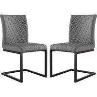 Product photograph showing Kalamazoo Grey Faux Leather Cantilever Dining Chairs In Pair